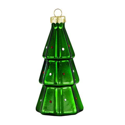 glazen kerstbal in kerstboom vorm