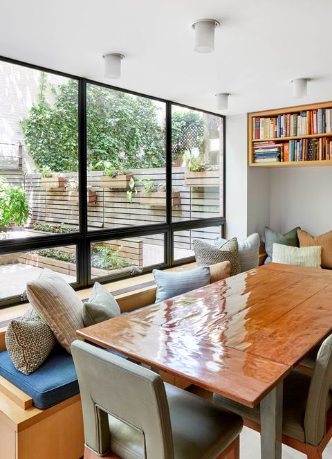 breakfast nook, wooden table, grey chairs, bench seat