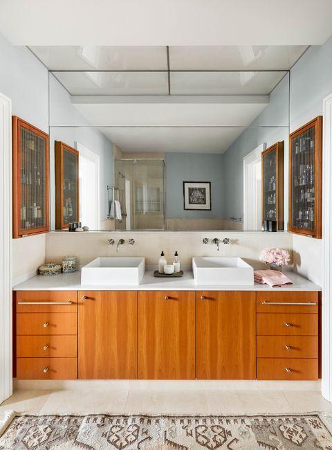 bathroom, wooden cabinets, double vanity
