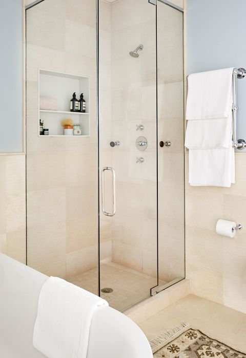 kathleen walsh bathroom, shower, cream tiles