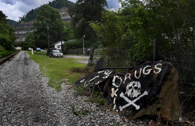 stollings, wv  sep 01 an ominous sign painted on some rocks in logan county, west virginia speaks to the issue that drugs are a big problem in rural west virginia the mingo county town of gilbert, west virginia has an opiate problem that belies its small size there's only about 450 residents but the overdose issue has impacted the community hard the town has more pharmacies than other towns of similar size photo by michael s williamsonthe washington post via getty images
