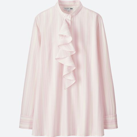 Clothing, Pink, Sleeve, Collar, Outerwear, Blouse, Neck, Shirt, Button, Peach,