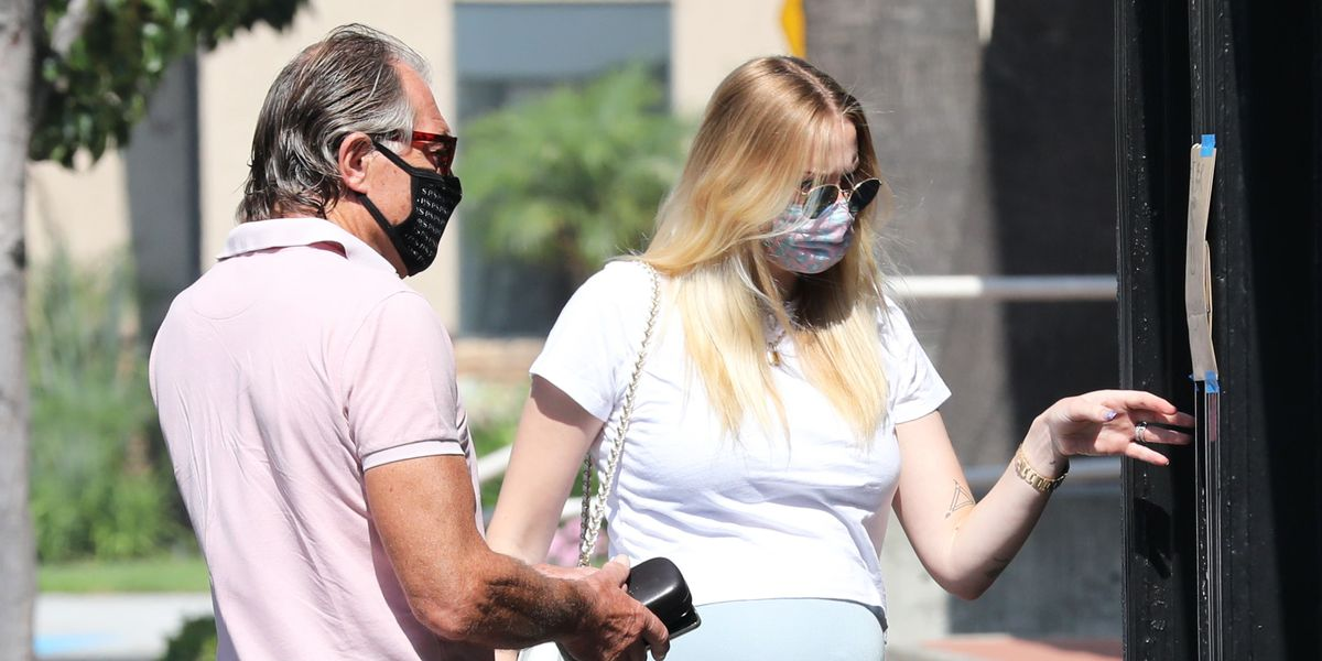 Sophie Turner Went Peak Summer in a Pastel Bodycon Skirt and White T-Shirt