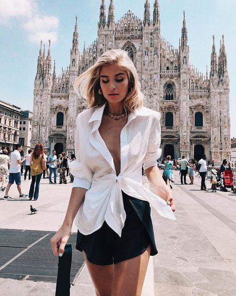 White, Black, Clothing, Street fashion, Fashion, Fashion model, Beauty, Leg, Snapshot, Blond,