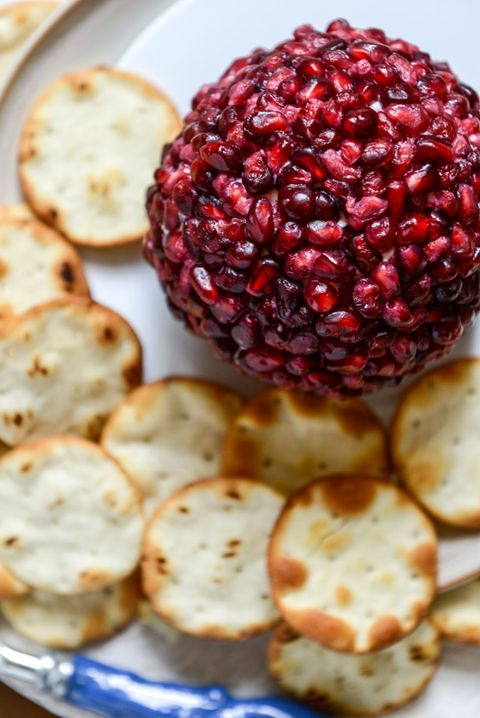 pomegranate jeweled white cheddar cheese ball