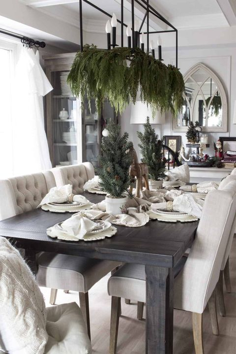drape evergreen from your chandelier