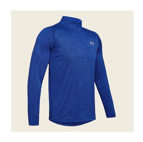 Clothing, Sleeve, Outerwear, Jersey, T-shirt, Cobalt blue, Sportswear, Shirt, Jacket, Collar,
