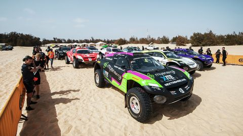 hispano suiza xite energy team and other teams cars on the beach in senegal
