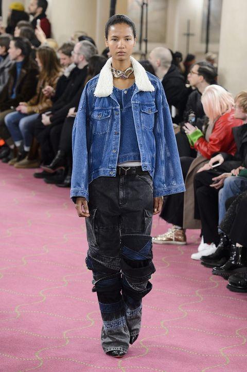 Denim, Fashion, Jeans, Fashion show, Runway, Clothing, Street fashion, Textile, Fashion model, Outerwear,