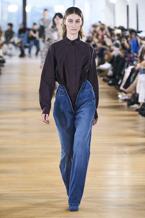 Fashion, Fashion show, Runway, Fashion model, Blue, Clothing, Denim, Human, Jeans, Public event,