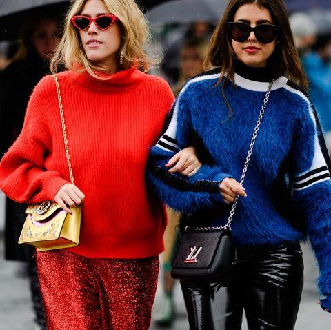 Street fashion, Red, Cobalt blue, Blue, People, Fashion, Clothing, Eyewear, Electric blue, Sunglasses,