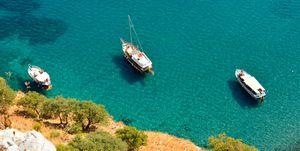 Yachts on the Mediterranean coastline in Turkey.