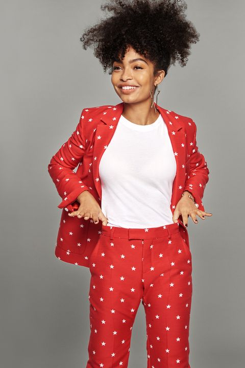 Clothing, Red, Hair, White, Afro, Pattern, Hairstyle, Polka dot, Outerwear, Jacket,