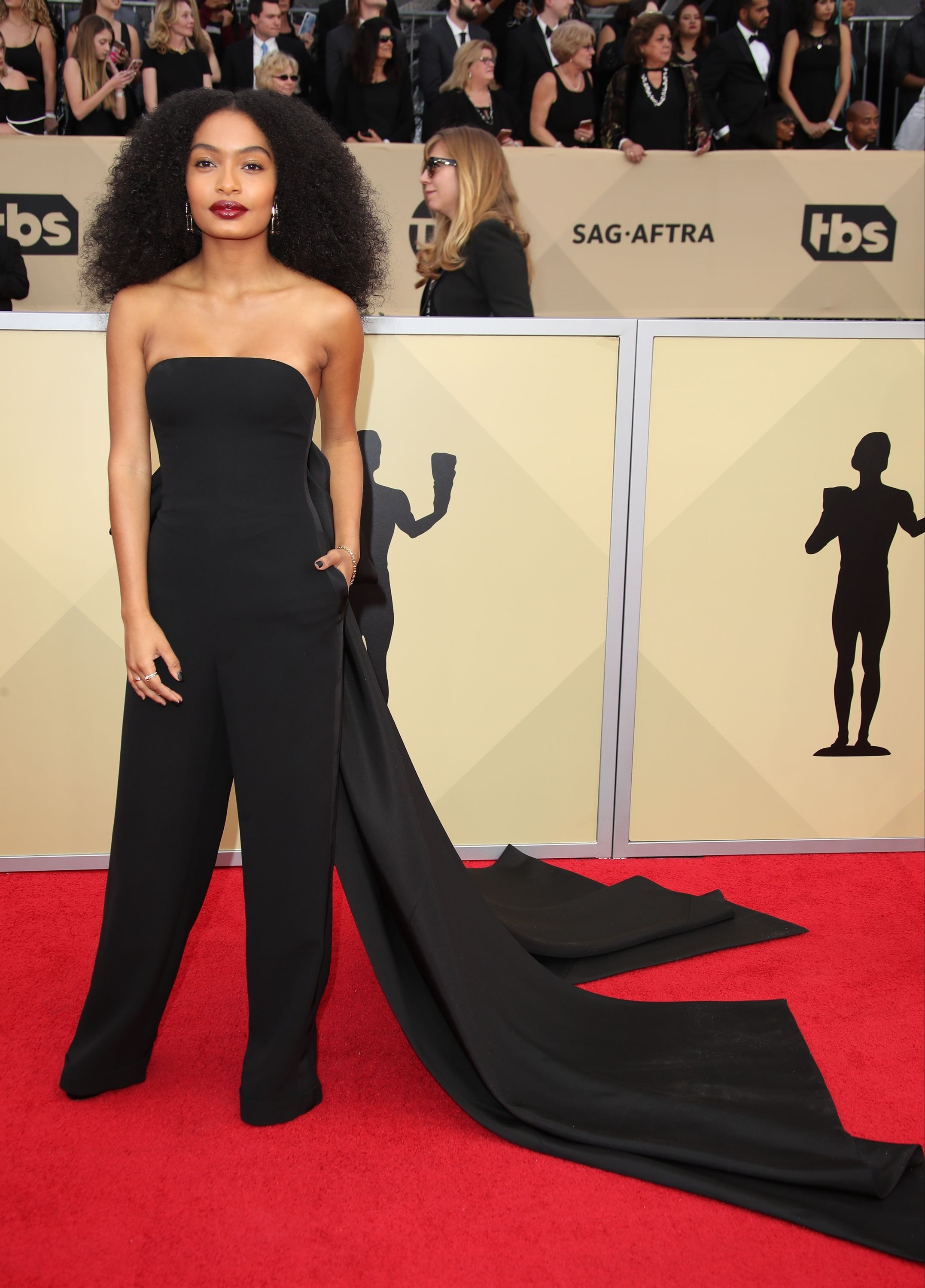 The starlet picked a bespoke Ralph Lauren strapless jumpsuit with an oversized bow at the back for the 2018 Screen Actors Guild Awards.