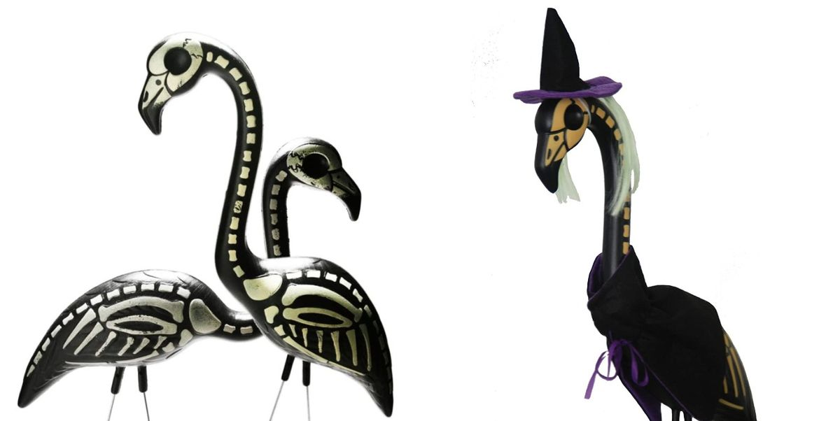 These Skeleton Yard Flamingos Will Make Your Home's Exterior Extra Spooky This Halloween