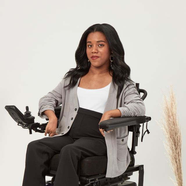 woman disabled wheelchair clothing cardigan pants