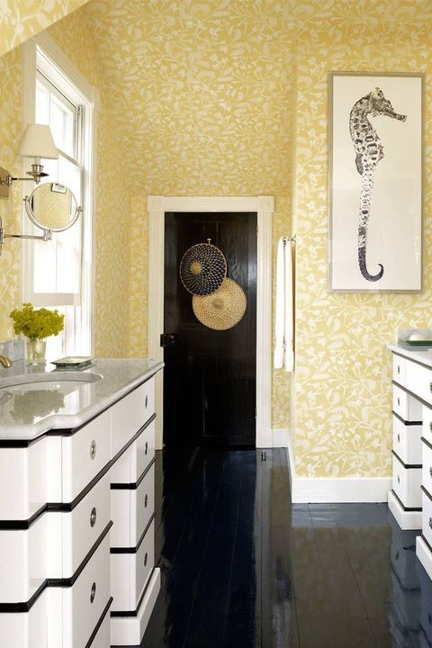bathroom with yellow floral wallpaper