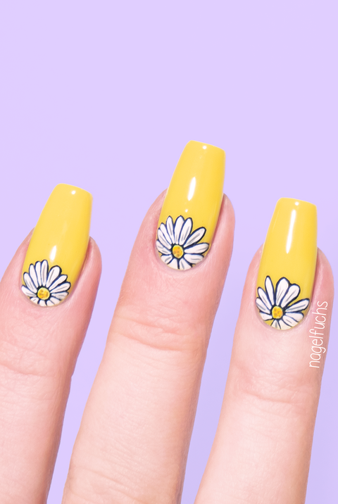 easter nail designs - daises