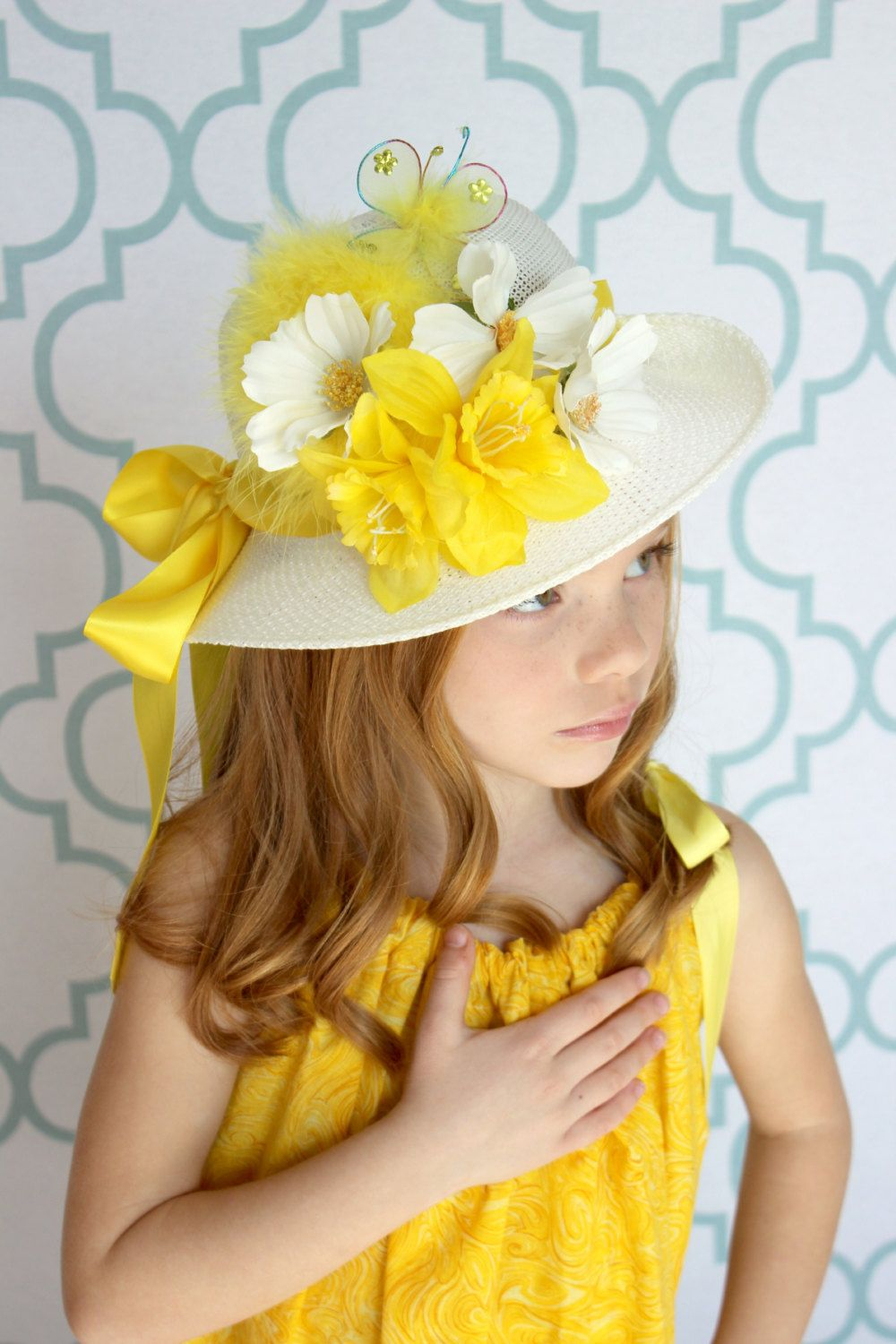 child's yellow easter hat