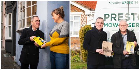 James Nesbitt delivers last copies of the Yellow Pages
