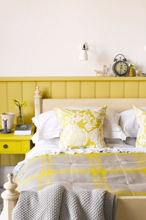 yellow and gray shabby chic bedroom