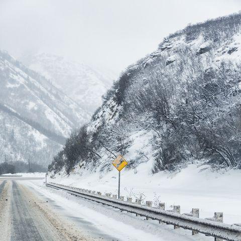 Yellow S Curve Warning Road Sign On Slushy Winter Highway