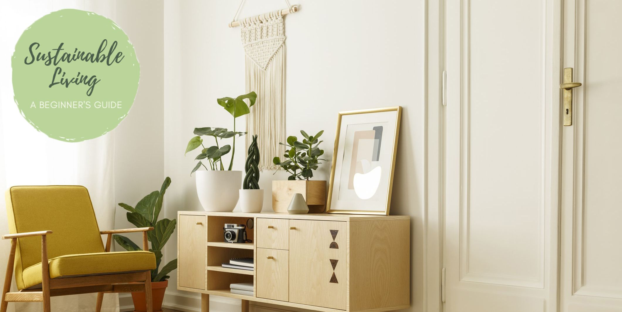 Yellow wooden armchair next to cupboard with plants and poster in retro flat interior