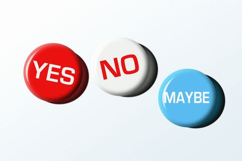 yes, no and maybe badges, illustration