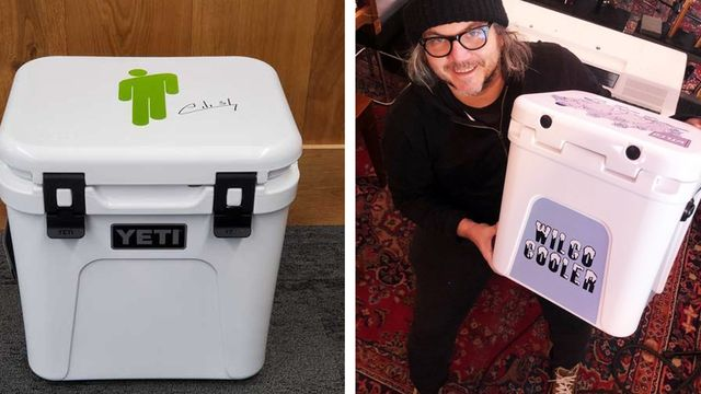 yeti coolers decorated by musicians