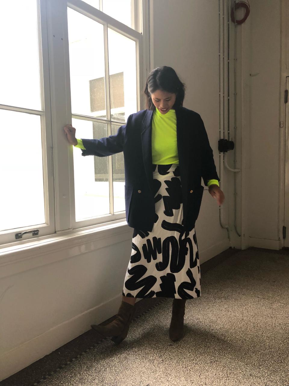 ELLE's OOTD,Asos, print rok, neon top,oversized blazer