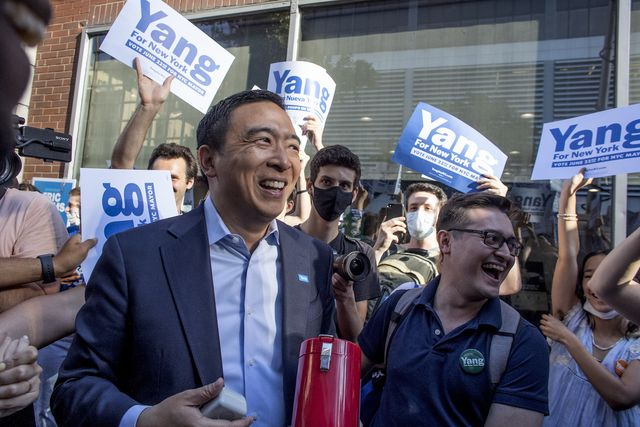 new york, ny  june 10 new york city mayoral candidate andrew yang greets supporters before the second televised debate on june 10, 2021 outside of the cbs television studios in  new york city, new york  photo by andrew lichtensteincorbis via getty images