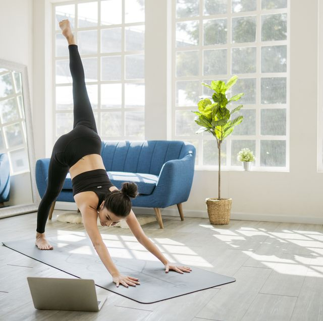 yoga at home with laptop