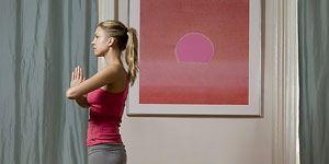 Fat burning yoga: Woman doing yoga
