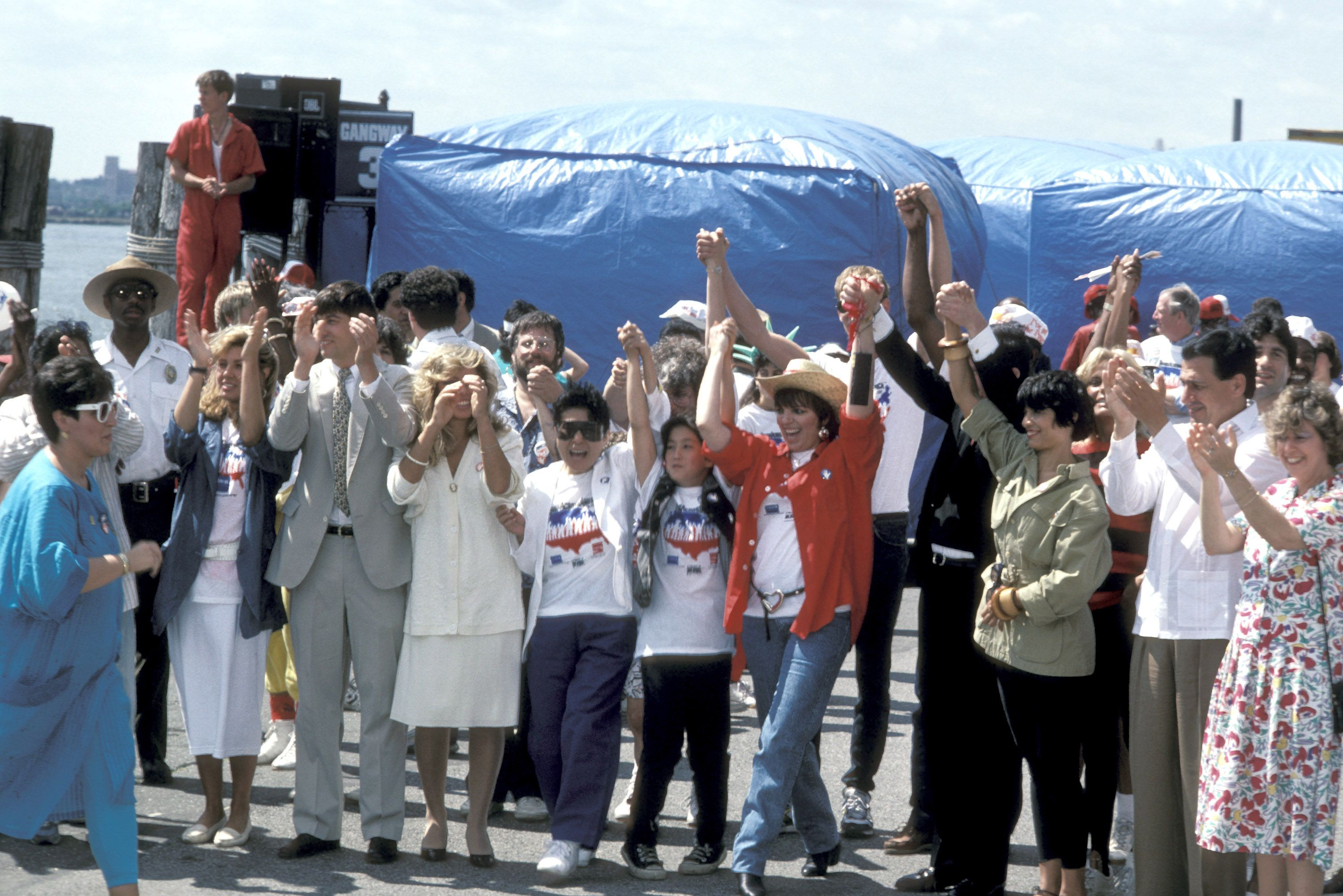 Yoko Ono, Sean Lennon, Liza Minnelli, and others during Hands Across America at Battery Park in New York City.
