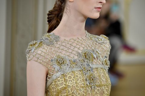 Fashion, Clothing, Haute couture, Fashion model, Dress, Shoulder, Cocktail dress, Runway, Gown, Neck,