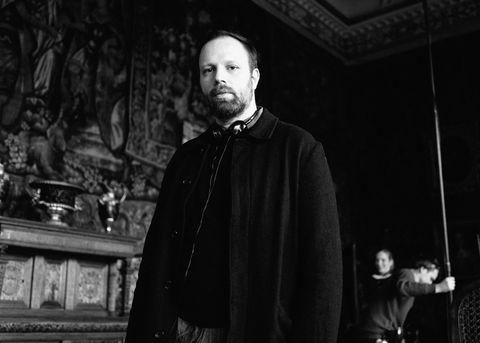 Director Yorgos Lanthimos on the set of The Favourite