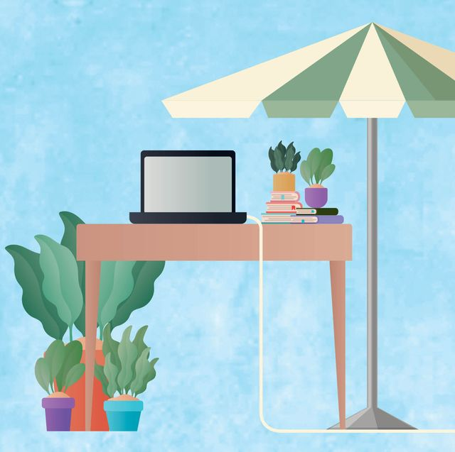 graphic of a desk plants umbrella and books and computer
