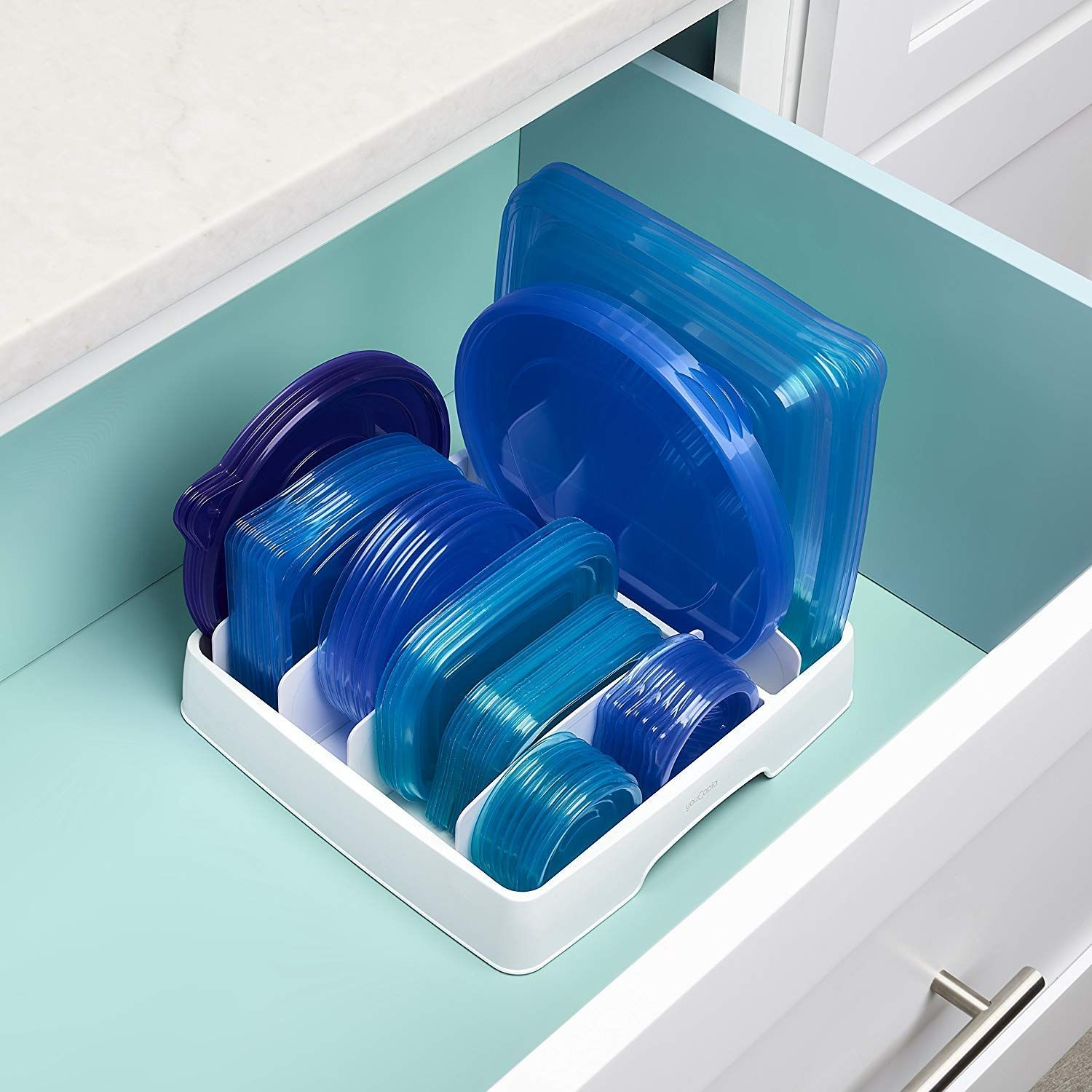 This Food Container Lid Organizer Will Save Your Kitchen Cabinets