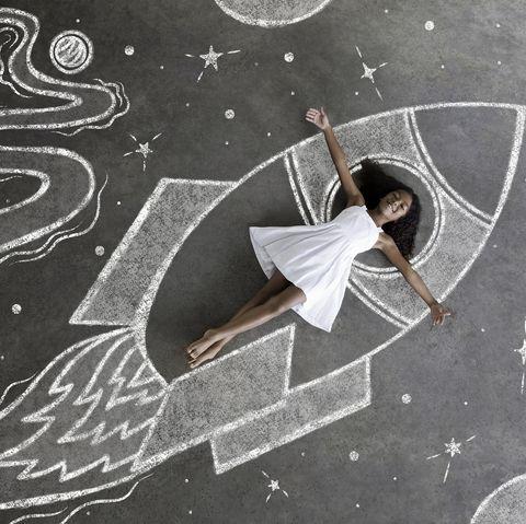 young black girl, white dress, imaginary spaceship