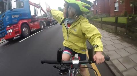 4-Year-Old Cyclist Trucker Driver Thumbs Up