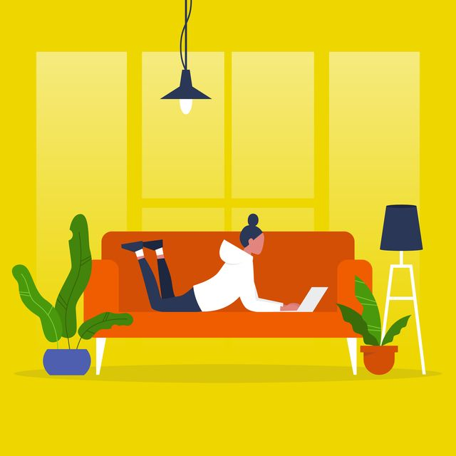 Young female manager lying on a sofa with a laptop. Modern office. Freelance. Daily routine. Millennial lifestyle. Flat editable vector illustration, clip art