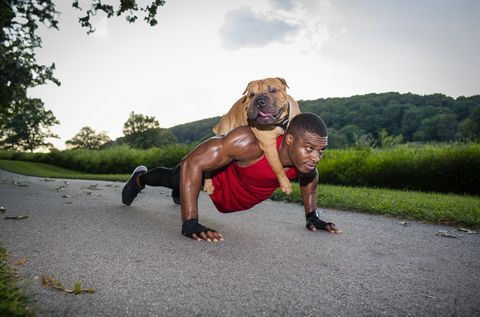 Young man doing pushups on rural road whilst giving dog a piggyback