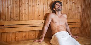 Young man in sauna.