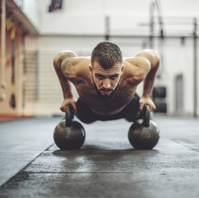 young man is doing cross training exercise