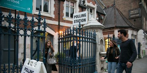 Polling station, young voters