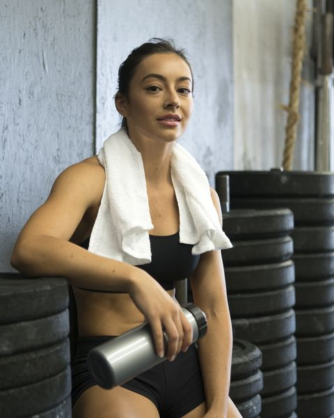 young woman relaxing after a workout