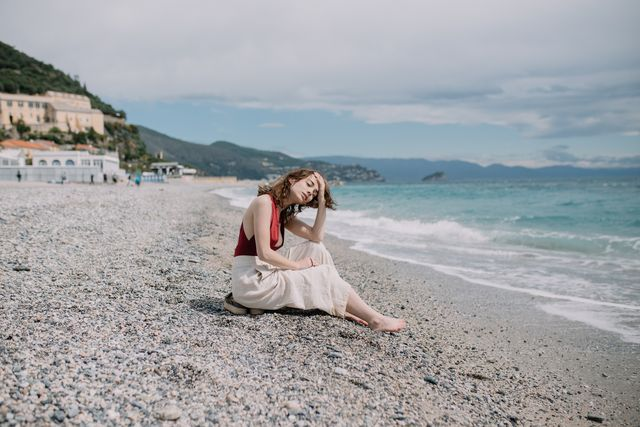 young woman resting in nice, france