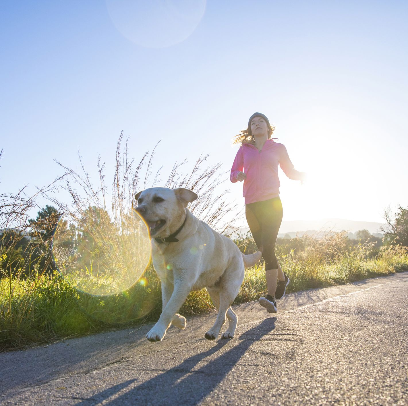 Young woman running along rural road with pet dog, low angle view