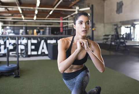 Young woman training
