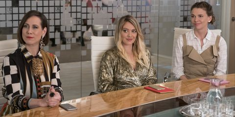 Miriam Shor (Diana Trout), Hilary Duff (Kelsey), and Sutton Foster (Liza) in Younger